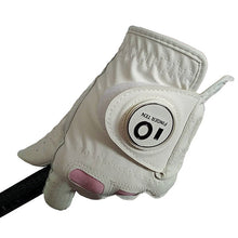 Load image into Gallery viewer, Ladies Leather Golf Gloves Women Left Hand Right Weathersof Grip Outdoor Breathbale Soft Anti Slip Glove with Ball Marker 1 Pc