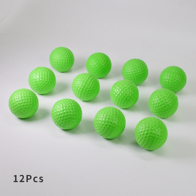 Yellow Green Orange 12Pcs Foam Practice Golf Balls Outdoor Indoor Golf Training Balls