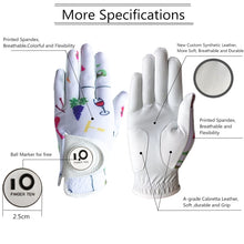 Load image into Gallery viewer, Ladies Golf Gloves Right Hand Left Non-Slip Ball Marker Gloves Classic Women Gloves Leather All Weather Grip Colorful 1 Pc