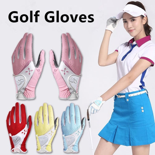 4 Colors 2Pcs Women PU Golf Gloves Soft Breathable Pure Non-Slip Gloves with Sunscreen Patchwork Golf Gloves