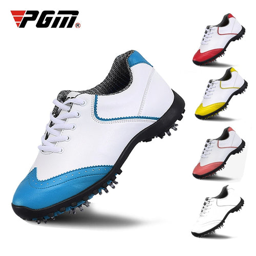 Pgm Golf Shoes Women's  Waterproof Golf Sports Activities Nail Shoes Ladies Brogue Style Breathable Sports Trainers