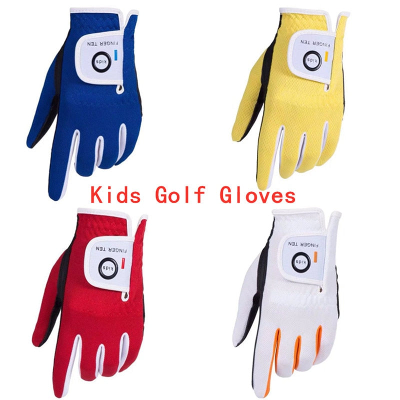 Left Hand Right Golf Gloves Kids Rain Grip Hot Wet Breathable Soft Junior Children Lh Rh S M L Durable 2 Pack Set Age 2-10 Years