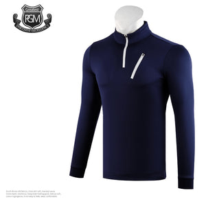 Men'S Long Sleeves Breathable Zipper Golf T-Shirt Male Outdoor Sports