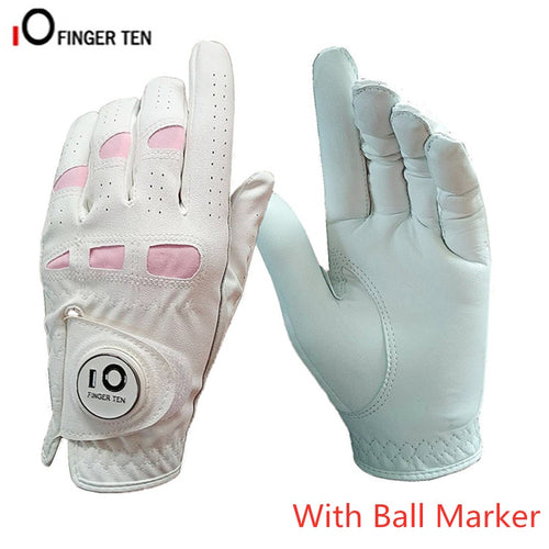 Ladies Leather Golf Gloves Women Left Hand Right Weathersof Grip Outdoor Breathbale Soft Anti Slip Glove with Ball Marker 1 Pc