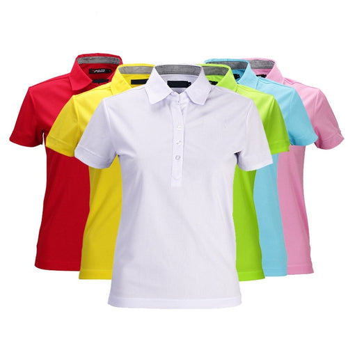 Wholesale Special Quality Tops Polo Shirts Lady Short Women Cotton Feminina Pra Golf/Tennis Lady Clothes S-XXL Dry Fit Tshirt