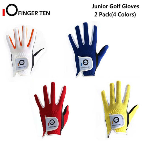 2 Pack Golf Gloves Junior Kids Youth Toddler Boys Girls Dura Feel White Blue Red Yellow Left Hand Right Hand
