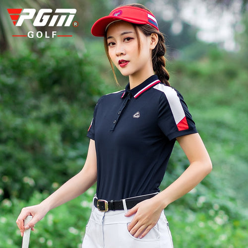 PGM Women Stitching Short Sleeve T Shirt Golf Clothing Lady Summer Sports Outdoor Training Wear Breathable Tennis Apparel Lapel
