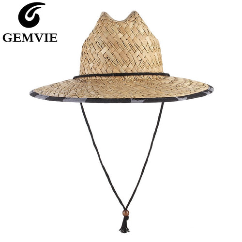 GEMVIE New Wide Brim Lifeguard Straw Hat with Chin Cord Summer Sun Hats For Men/Women