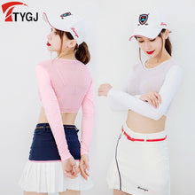 Load image into Gallery viewer, Women Thin Golf Shirts Sunscreen Inside Wear Cropped Tops Long Sleeve Anti-Uv Arm Sleeve Ice Silk Bottoming Golf Shirt