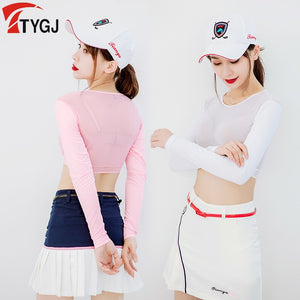 Women Thin Golf Shirts Sunscreen Inside Wear Cropped Tops Long Sleeve Anti-Uv Arm Sleeve Ice Silk Bottoming Golf Shirt