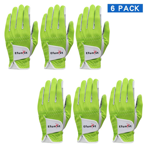 6 Pcs Efunist Golf Glove Men Left Hand Breathable Green 3D Performance Mesh Non-slip Micro Fiber Golf Gloves