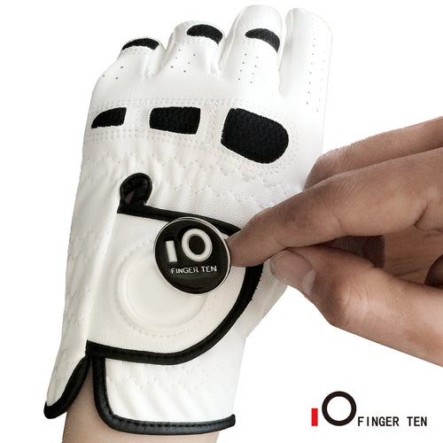 Men's Golf Gloves with Ball Marker Left Hand Lh for Right-Handed Golfer All Weather Grip Fit Small Medium ML Large XL Finger Ten
