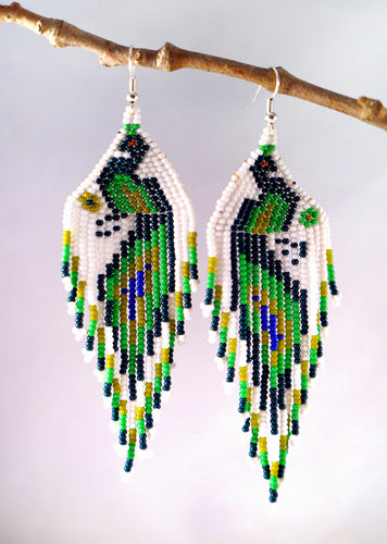 Artful Peacocks Earrings, White/Green