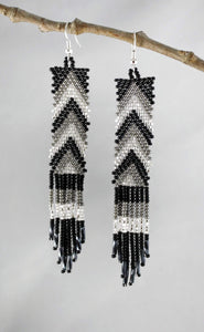 Chevron Tassel Earrings, Black/Silver