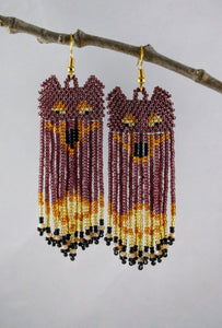 Call of the Wild Earrings, Lavender & Gold