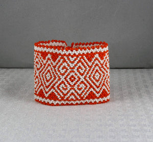 Tribal Scroll Wide Cuff Bracelet, Orange/White
