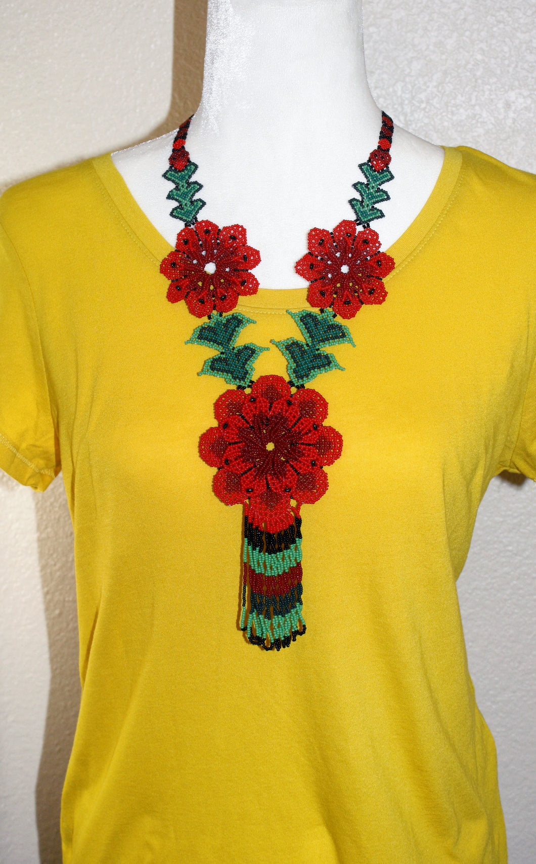 Traditional Flower Necklace, Dark Red