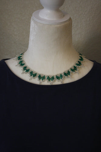 Dainty Collar Necklace, Silver & Emerald Green