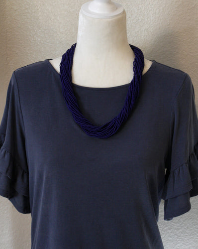 Chunky Multi-Strand Necklace, Medium Length- Deep Purple-ish Navy