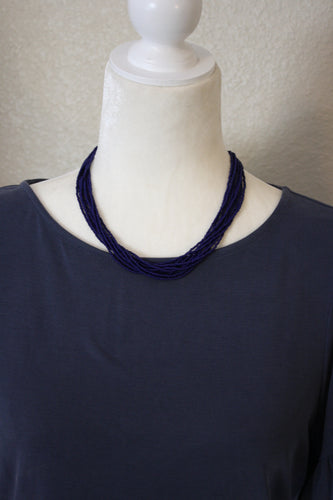 Dainty Multistrand Necklace, Bright Blue