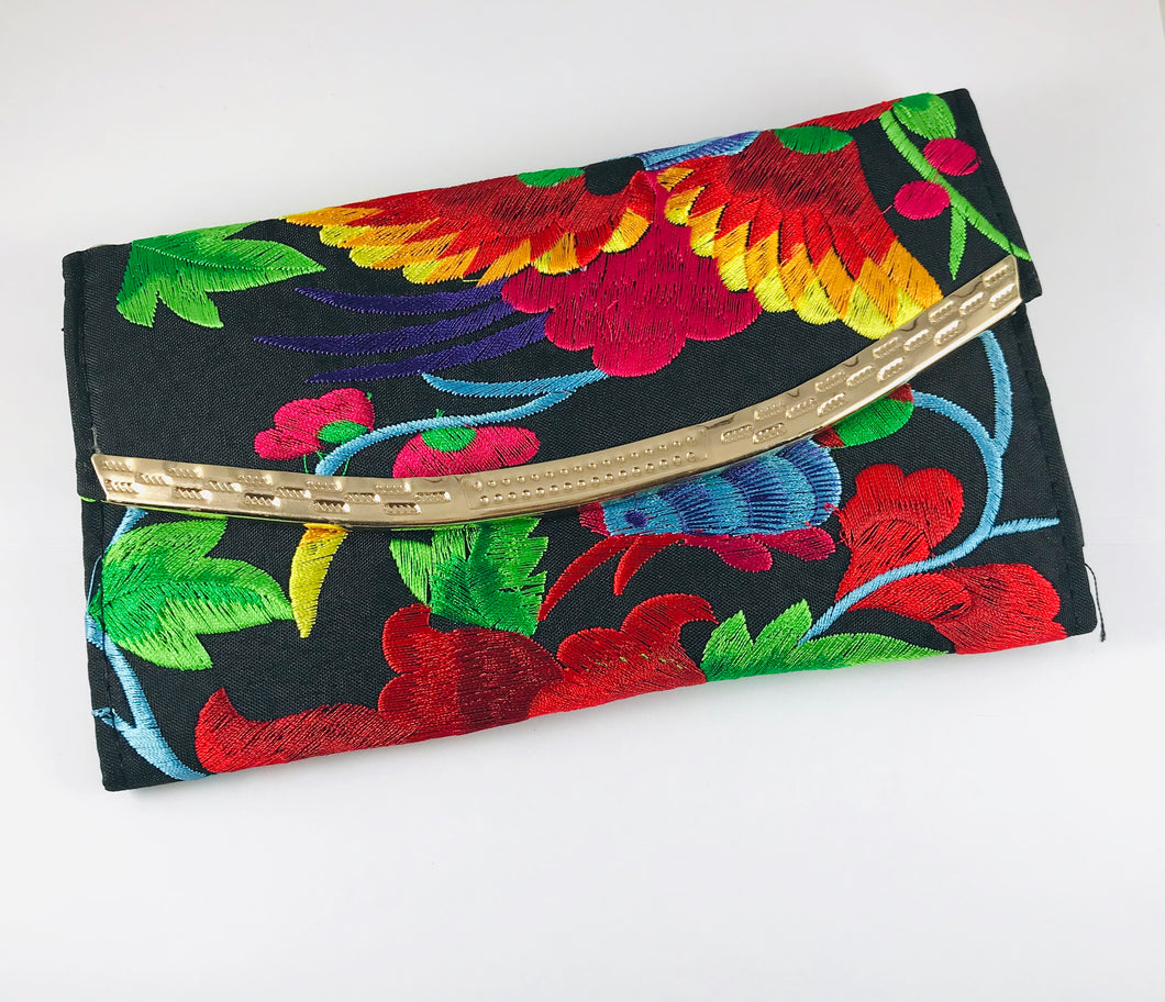 Hand-Embroidered Clutch, Red
