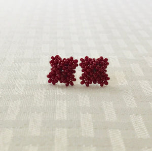 Crisscross Cube Stud Earrings, Wine