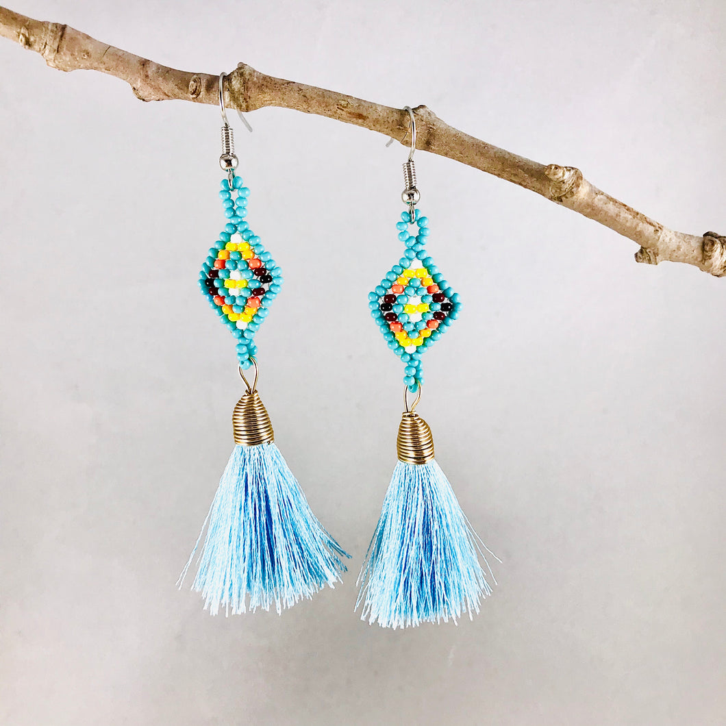 Diamond Tassel Earrings, Turquoise/Light Blue
