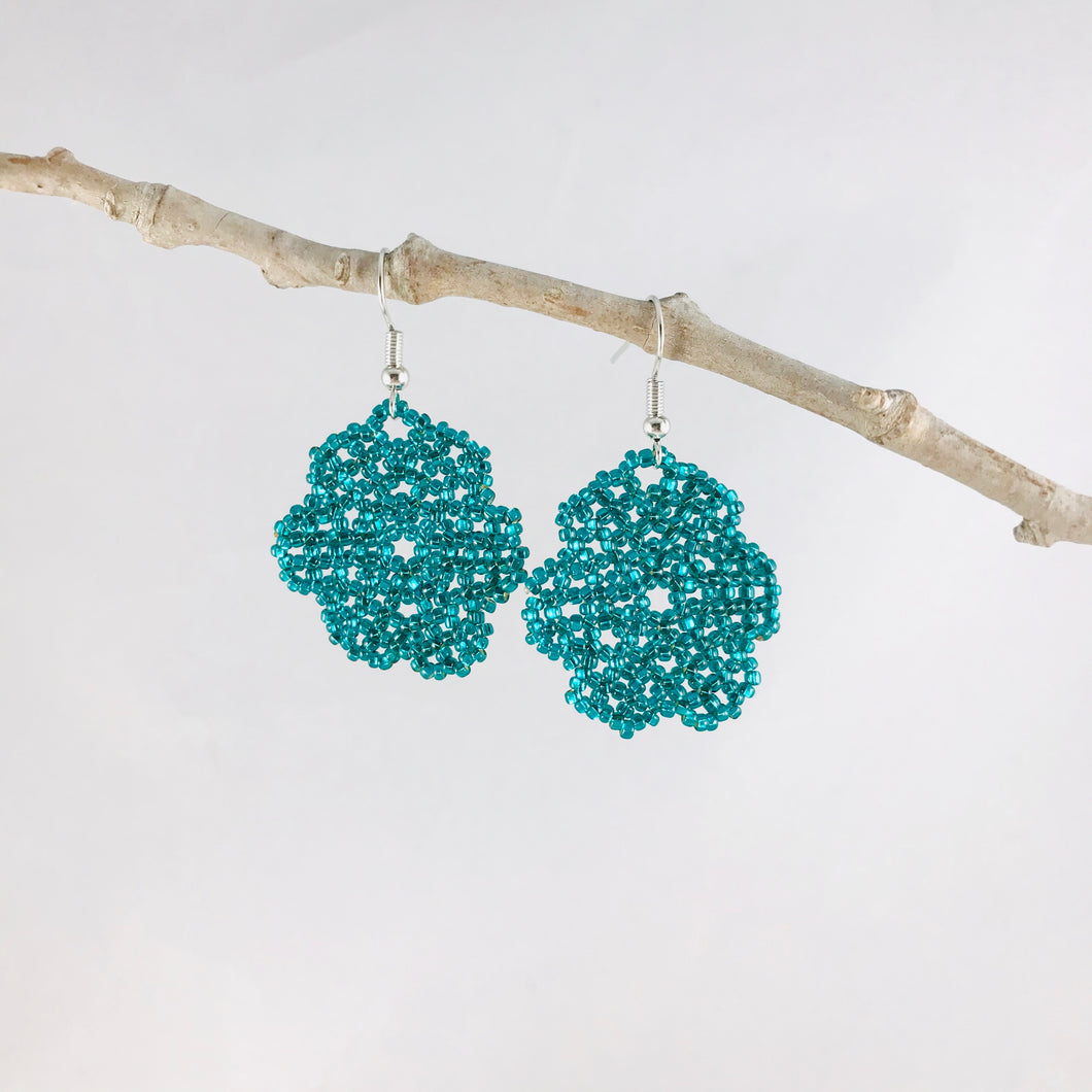 Florecita Earrings, Shiny Teal