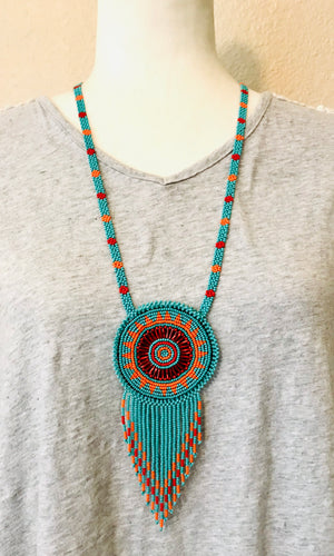Monedero Necklace, Turquoise/Orange/Red