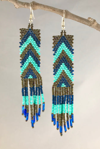 Chevron Tassel Earrings, Turquoise/Bronze