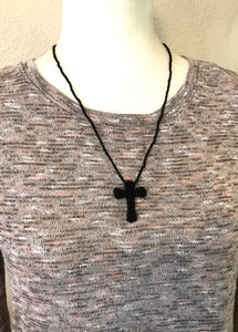 Cross Necklace, Black