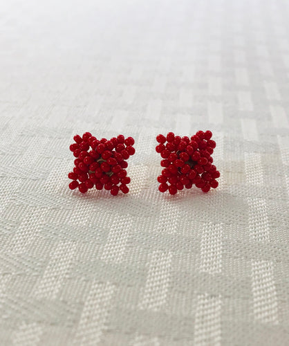 Crisscross Cube Stud Earrings, Red