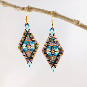 Aztec Dreams Earrings, Iridescent Gold/Aqua