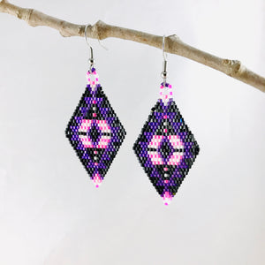 Aztec Dreams Earrings, Purple/Pink