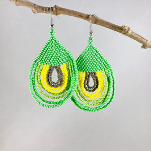 Happy Days Earrings, Lime Green/Yellow/Gray