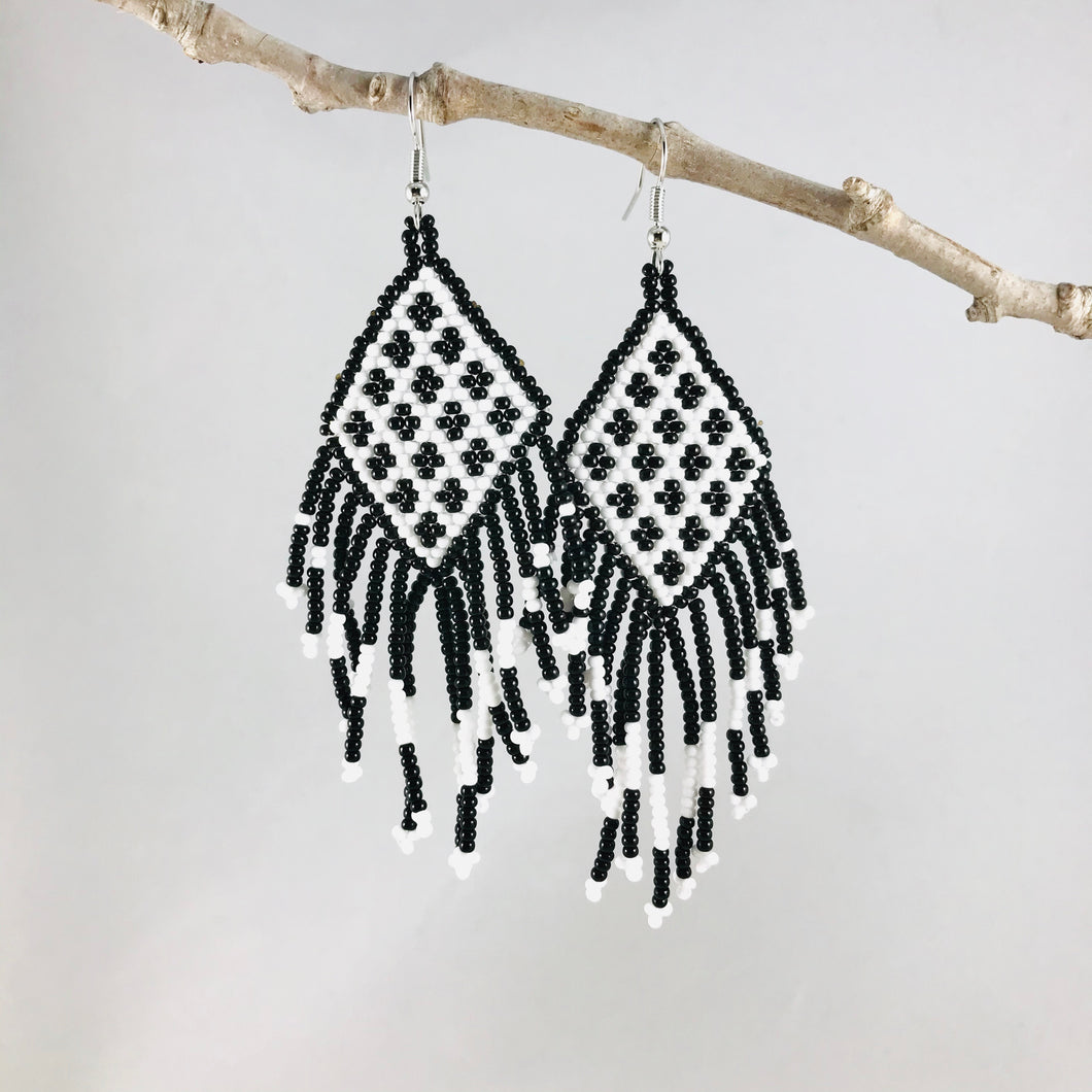Tribal Fringe Earrings, Black/White