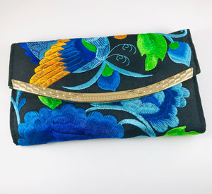 Hand-Embroidered Clutch, Blue