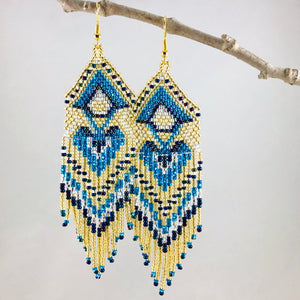 Boho Vibes Earrings, Gold/Blue