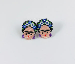 Frida Stud Earrings, Blue Flower Crown