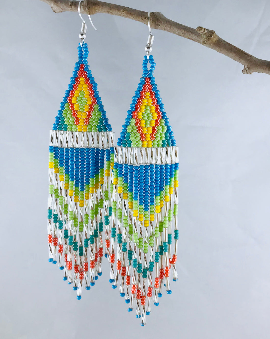 Ain't No Mountain High Enough Earrings, Blue/Lime