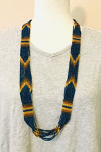 Chevron Necklace, Navy/Gold