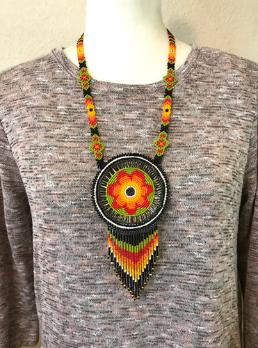 Tribal Medallion Necklace, Lime/Orange