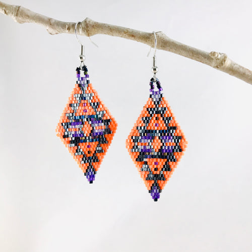 Aztec Dreams Earrings, Coral/Purple