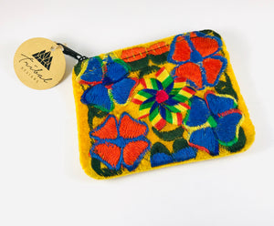 Hand-Embroidered Coin-purse, Yellow/Red/Blue