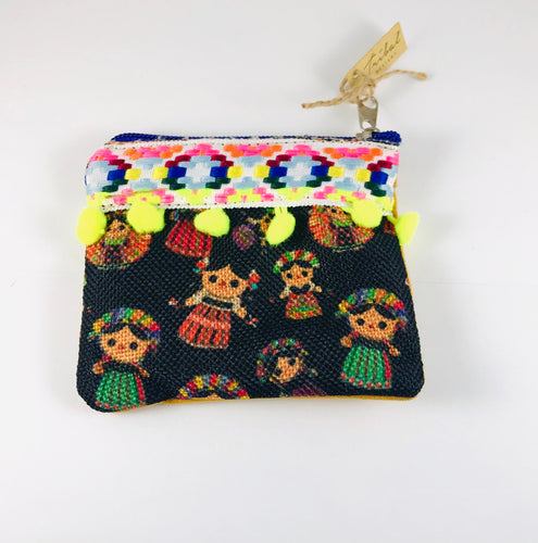 Traditional Print Coin-purse, Black/Yellow