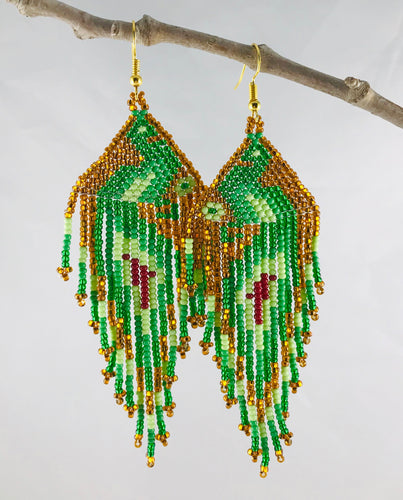 Artful Peacocks Earrings, Gold/Green