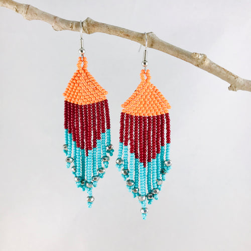 Color Block Fringe Earrings , Orange/Maroon/Turquoise