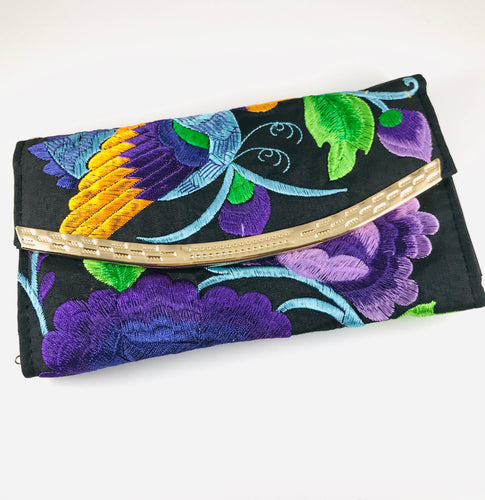 Hand-Embroidered Clutch, Purple