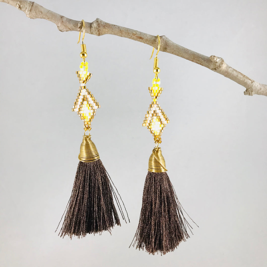 Princesa Earrings, Gold/Chocolate