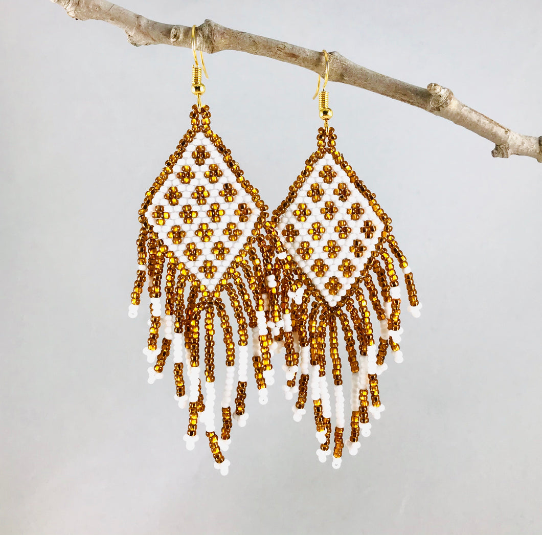 Tribal Fringe Earrings, Dk Gold/White